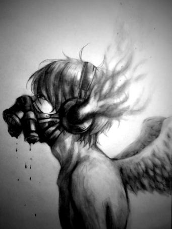 Фото У парня с крыльями капает кровь из респиратора