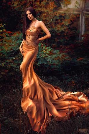 Фото Девушка в длинном коричнево-оранжевом платье стоит на фоне растений, фотограф Светлана Беляева / Svetlana Belyaeva (© ), добавлено: 28.02.2013 01:57