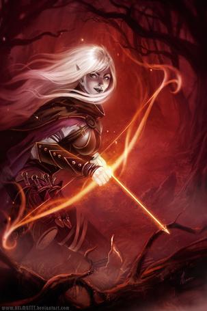 Фото Темная эльфийка в доспехах с луком в руках, автор Майкл Гаусса / Michael Gauss (HELMUTTT)