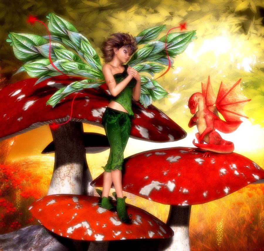 Фото Девушка эльф, в зеленых костюме и сапожках, держит одну свою руку в другой , стоя на грибе мухоморе. На втором грибе мухоморе сидит красный дракон