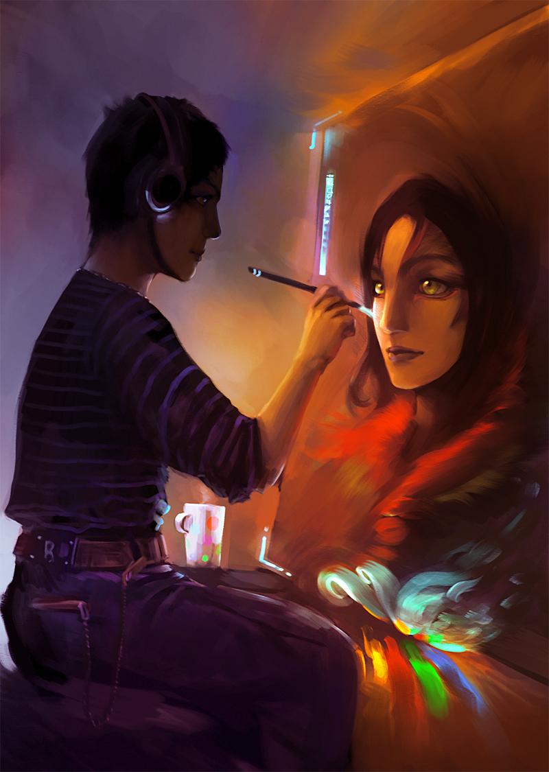 Фото Парень в наушниках рисует картину, Art by Wen-JR