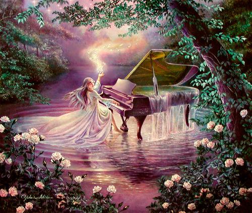 Фото Девочка, играющая на рояле, из которого льется вода, работа Yukari