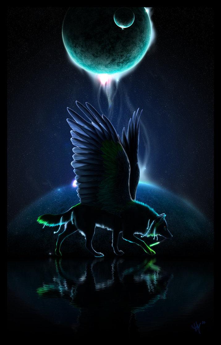 Фото Волк с крыльями на фоне луны