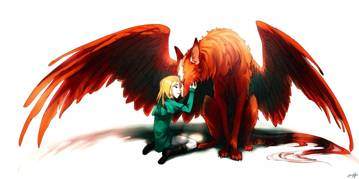 Фото Мальчик блондин присел около рыжего волка с крыльями ...