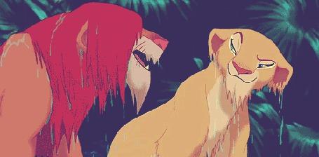 Фото Нала скидывает Симбу в воду, момент из мультфильма Король лев / The lion king