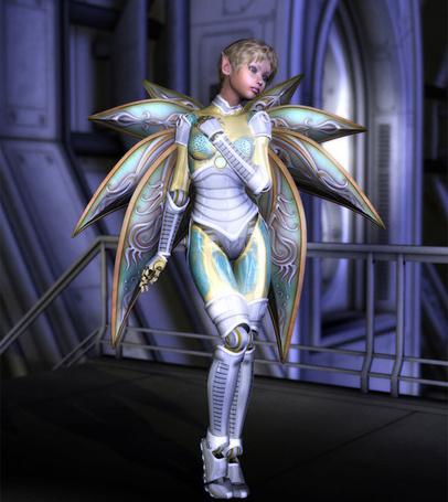 Фото Девушка эльф, в костюме робота, стоит склонив голову набок и положив одну руку себе на плечо