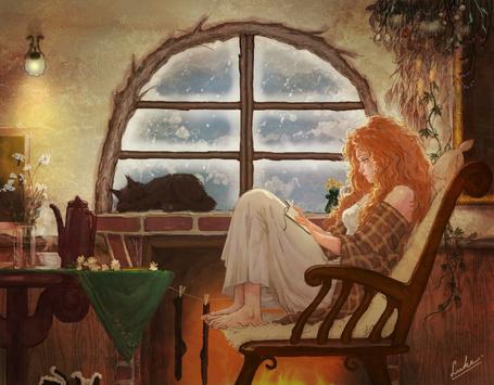 Фото Девушка сидит в кресле у камина и читает книгу (© Krista Zarubin), добавлено: 01.03.2013 14:17