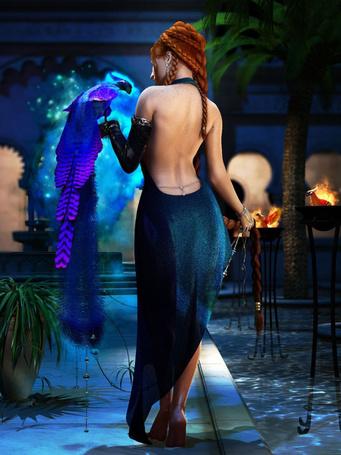 Фото Девушка в длинном платье, с открытой спиной, держит одной рукой свою длинную косу, а на  другой руке сидит фиолетовый павлин