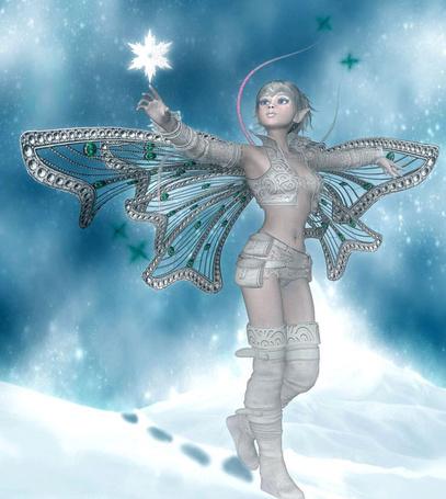 Фото Зимняя девушка эльф, идет по снегу и подняла руку, касаясь пальцем белой звезды в виде снежинки