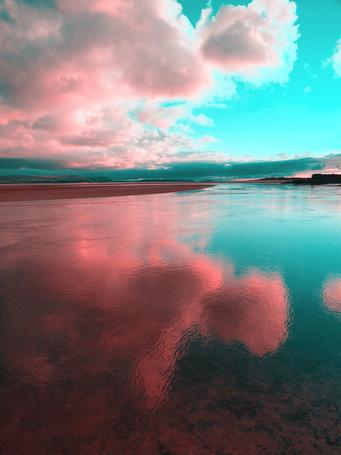 Фото Облака отражаются в воде розовым цветом (© Юки-тян), добавлено: 01.03.2013 22:24