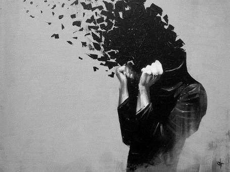 Фото Человек рушится на черные осколки, автор sit