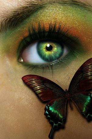 Фото На лице девушки бабочка в тон макияжа и цвета глаз