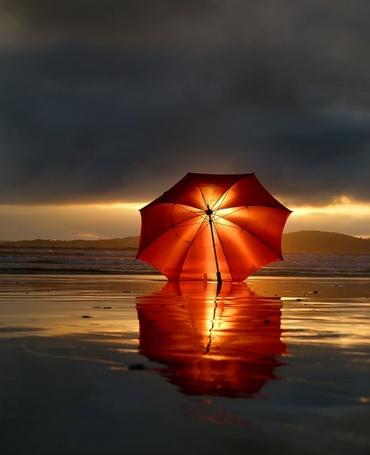 Фото Красный зонтик на берегу в солнечном свете после дождя