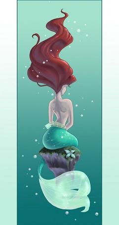 Фото Ариэль / Ariel русалочка сидит спиной в море