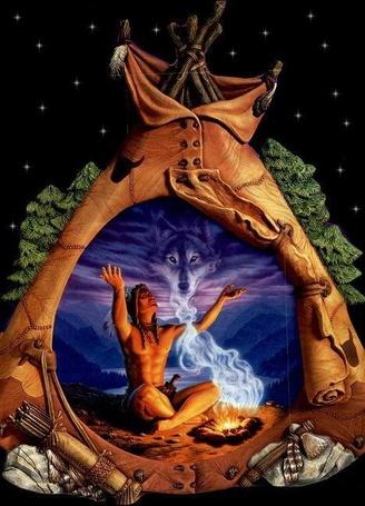 Фото Шаман вызывает дух волка в своем вигваме под звездным небом