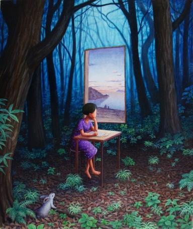 Фото Девочка сидит за партой в лесу  и смотрит в окно, висящее в невесомости