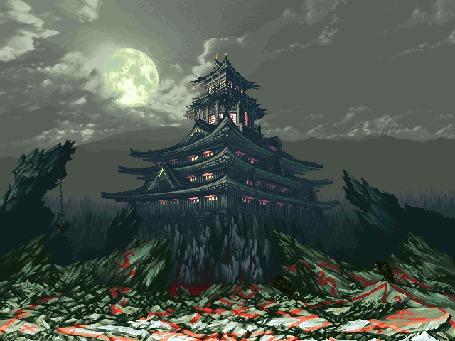 Фото Огни в старом даосском храме. Луна скрывается в облаках. Вороны клюют черепа