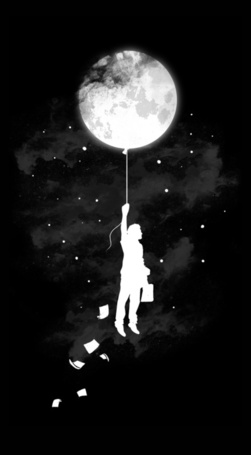 Фото Мужчина весит на Луне. как на воздушном шаре, из рук разлетаются листы бумаг (© ), добавлено: 07.03.2013 00:53