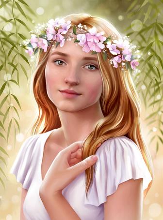 Фото Девушка в белом платье с распущенными волосами и с веночком из розовых цветов на голове, вокруг нее ветки ивы