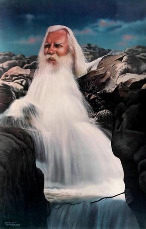 Фото Голова седого мужчины с бородой, которая переходит в водный поток, спадающий водопадом с гор (© Akela), добавлено: 07.03.2013 22:20