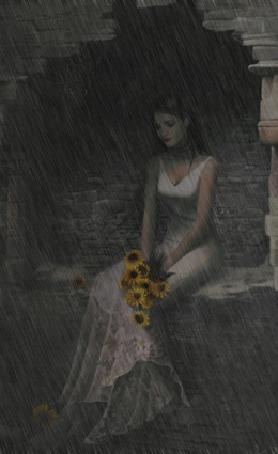 Фото Девушка сидит в каменной нише, держа желтые маргаритки на коленях