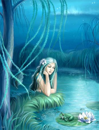 Фото Одинокая русалка на пруду
