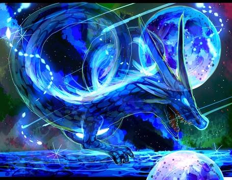 Фото Дракон с открытой пастью в космосе на фоне планеты и звезд