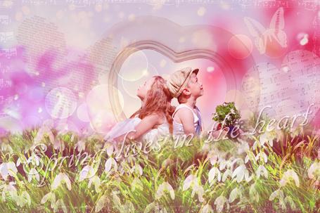 Фото Мальчик и девочка сидят на поле подснежников (Весна живет в сердце / Spring lives in the heart)