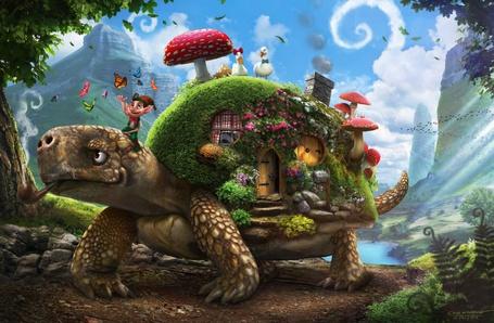 Фото Черепаха курит трубку и везет на спине сказочный домик, в котором живет Пиноккио и обитают гуси