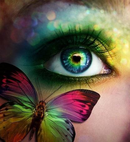 Фото На лице девушки бабочка в тон макияжа глаз