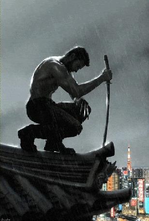 Фото Росомаха на крыше, под дождем с катаной в руке, фильм 'Росомаха: Бессмертный / The Wolverine, 2013'