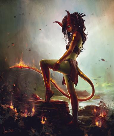 Фото Девушка-демон с горящим хвостом