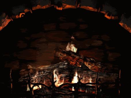 Фото В камине горит огонь