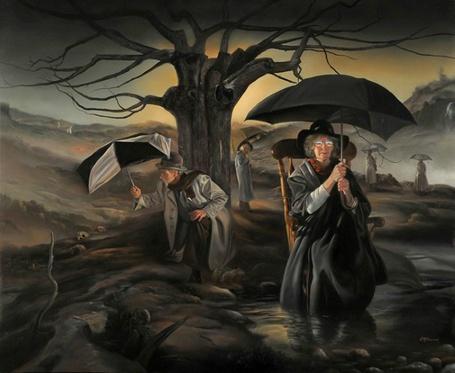 Фото Люди с зонтами в темном поле возле сухого дерева (© Флориссия), добавлено: 21.03.2013 14:15