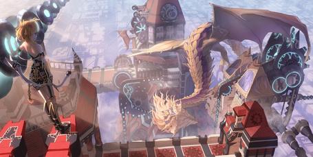 Фото Девушка с луком наблюдает за драконом на крыше здания