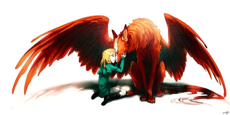 Фото Мальчик блондин присел около рыжего волка с крыльями и приложил руки к его морде прикрыв глаза (© ), добавлено: 30.03.2013 13:04