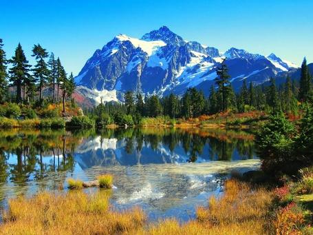 Фото Небольшое озеро с отражением зеленых деревьев и заснеженных гор (© Админ), добавлено: 31.03.2013 16:15