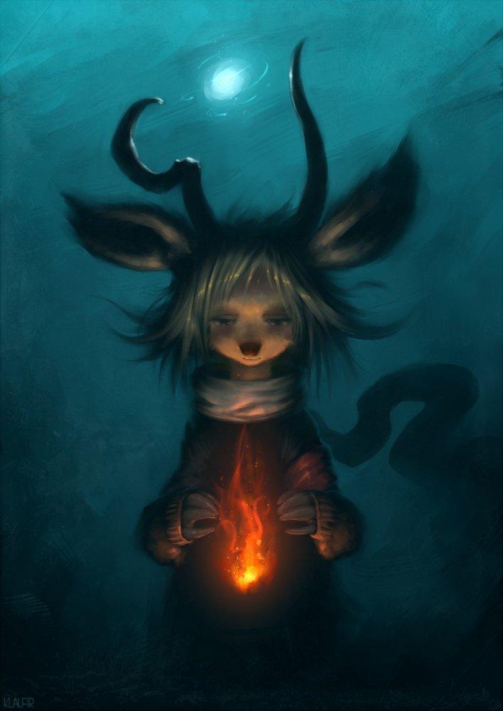 Фото Ребенок дьявола с огнем в руках