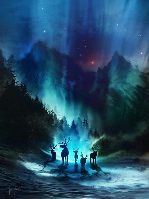 Фото Олени идут по лесу в нежном свете северного сияния