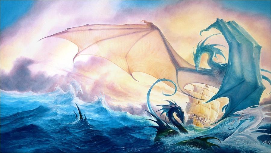 Фото Драконы в бурном море пытаются потопить корабль