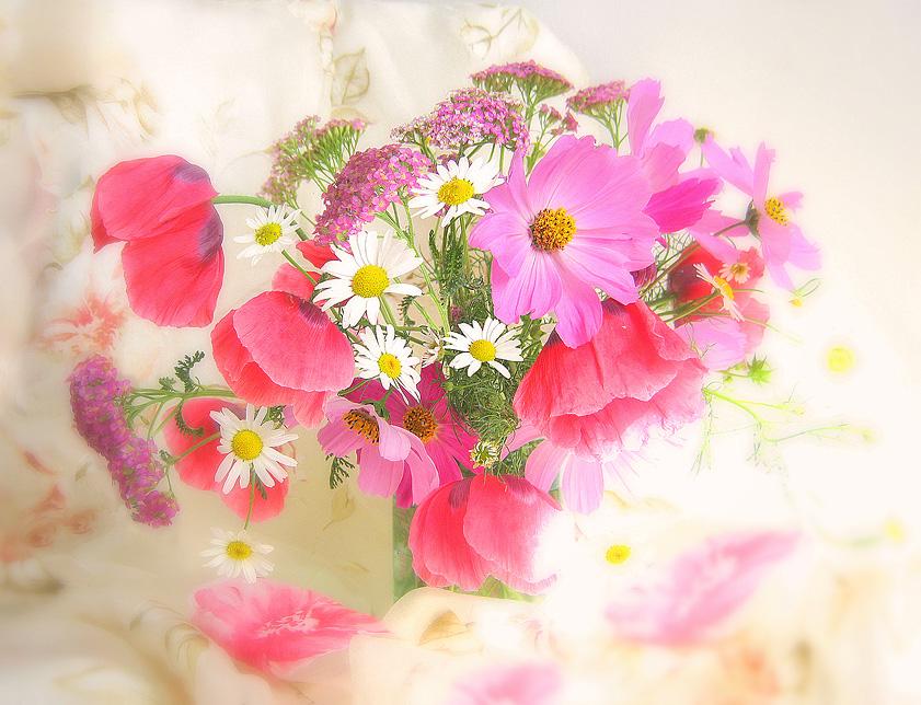 Натюрморт с нежными полевыми цветами