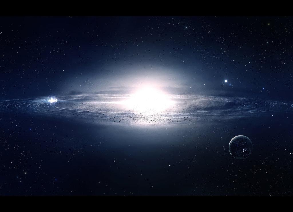 Фото планеты и белое сияния в космосе