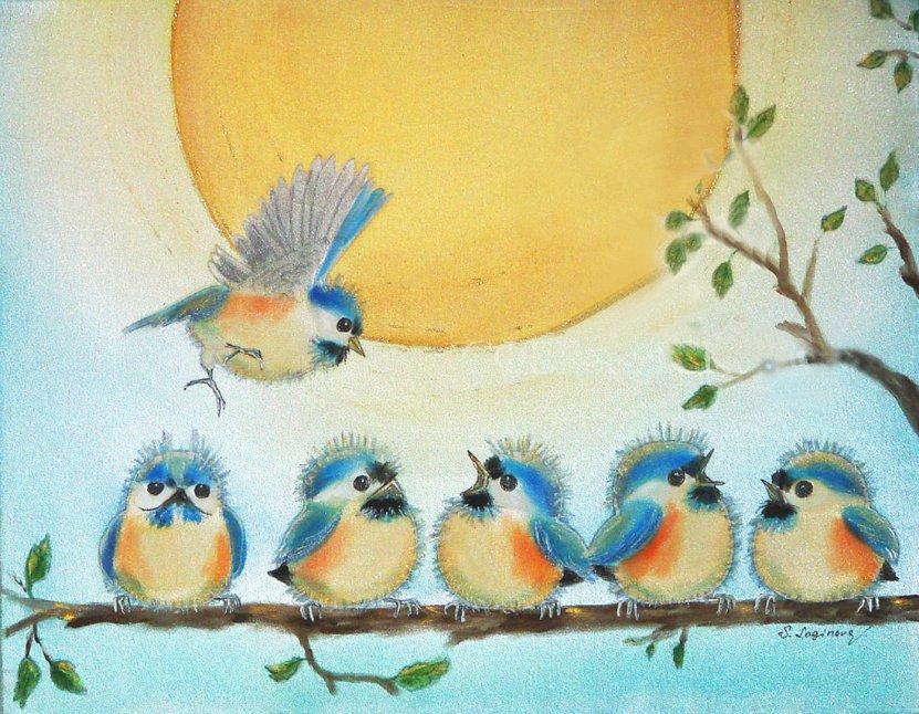 рисунки птички на ветке детские