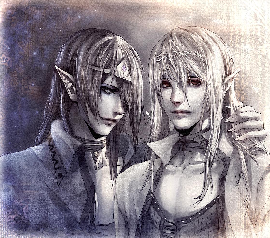 Фото Темный эльф и светлый эльф стоят рядом, автор Sakimichan