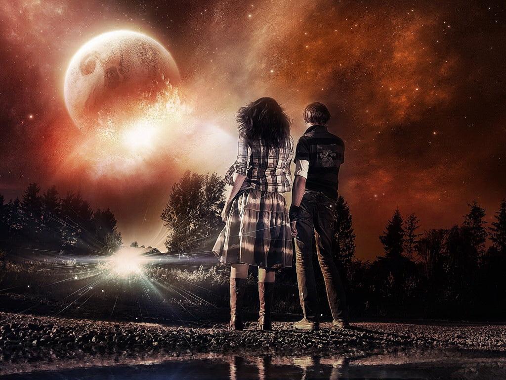Влюбленные под звездным небом картинки