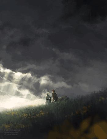 Фото Девушка с парнем с телом лошади (Кентавр) сидят под дождем на холме в поляне с цветами, художник под псевдонимом 3:33AM