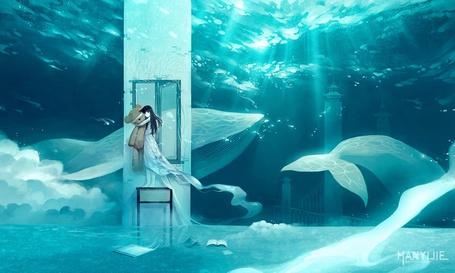 Фото Девочка в платье держит большого плюшевого медведя стоя на тумбочке в в воде с книгами, а сзади проплывают киты
