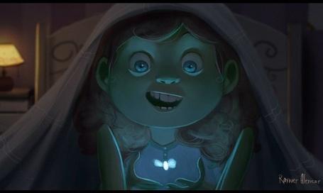 Фото Удивленная маленькая девочка с кудрявыми волосами сидящая под одеялом и со светлячком у руках, арт от Rayner Alencar