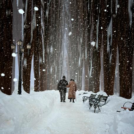 Фото Пожилая супружеская пара, прогуливающаяся по ночному парку среди горящих фонарей под падающим снегом, фотография Caras Iount