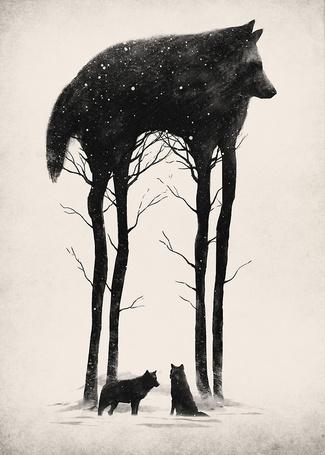Фото Два волка под деревом, изображенным в виде большого волка